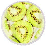 Full Frame Shot Of Fresh Kiwi Slices With Seeds Round Beach Towel