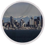 Full Frontal Seattle Round Beach Towel by James Heckt
