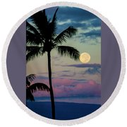 Full Moon And Palm Trees Round Beach Towel
