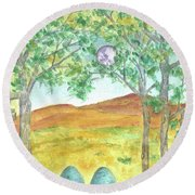 Round Beach Towel featuring the drawing Full Moon And Robin Eggs by Cathie Richardson