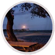 Full Moon At Inlet Watch Round Beach Towel