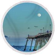 Full Moon At Kure Beach Pier Round Beach Towel by Phil Mancuso