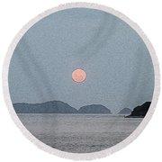 Full Moon At The Beach Round Beach Towel