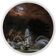 Full Moon At The Fountain Round Beach Towel