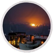 Round Beach Towel featuring the photograph Full Moon At Titusville by Norman Peay