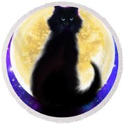Full Moon Black Cat Round Beach Towel