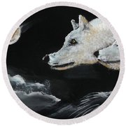 Full Moon Round Beach Towel by Carole Robins
