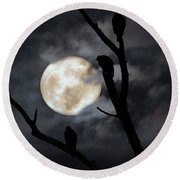 Round Beach Towel featuring the photograph Full Moon Committee by Darren Fisher