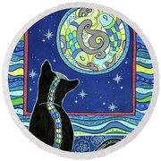 Pisces Cat Zodiac - Full Moon Round Beach Towel