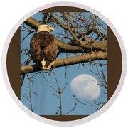 Full Moon Eagle  Round Beach Towel