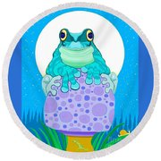Round Beach Towel featuring the digital art Full Moon Froggy  by Nick Gustafson