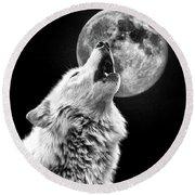 Full Moon Howl Round Beach Towel