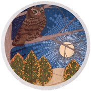 Full Moon Illumination Round Beach Towel