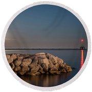 Full Moon In Port Round Beach Towel