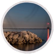 Full Moon In Port Round Beach Towel