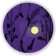 Full Moon In The Wild Grass Round Beach Towel