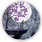 Full Moon Magic Round Beach Towel