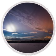 Full Moon Nightscape Round Beach Towel