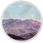 Full Moon Over Artists Palette Round Beach Towel