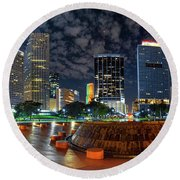 Full Moon Over Bayfront Park In Downtown Miami Round Beach Towel