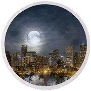 Full Moon Over Denver Round Beach Towel