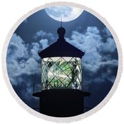 Full Moon Over Hillsboro Lighthouse In Pompano Beach Florida  Round Beach Towel