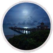 Full Moon Over Juno Beach Pier Round Beach Towel
