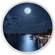 Full Moon Over Jupiter Lighthouse And Inlet In Florida Round Beach Towel