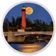 Round Beach Towel featuring the photograph Full Moon Over Jupiter Lighthouse, Florida by Justin Kelefas