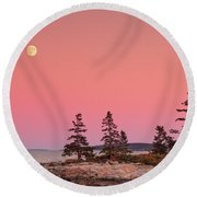 Full Moon Over Maine  Round Beach Towel by Emmanuel Panagiotakis