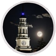 Full Moon Over Miller Library Round Beach Towel