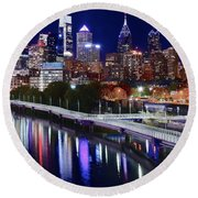Full Moon Over Philly Round Beach Towel by Frozen in Time Fine Art Photography