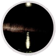 Full Moon Over Piermont Creek Round Beach Towel