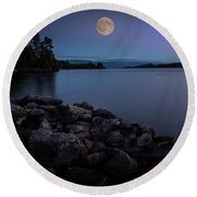 Full Moon Over The Lake Round Beach Towel