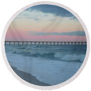 Full Moon Over The Pier Round Beach Towel