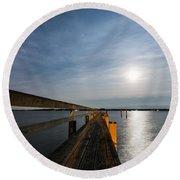 Full Moon Pier Round Beach Towel