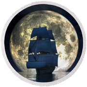 Full Moon Pirates Round Beach Towel