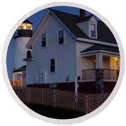 Full Moon Rise At Pemaquid Light, Bristol, Maine -150858 Round Beach Towel