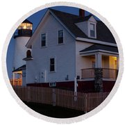 Round Beach Towel featuring the photograph Full Moon Rise At Pemaquid Light, Bristol, Maine -150858 by John Bald