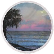 Full Moon Rising Round Beach Towel by Blue Sky