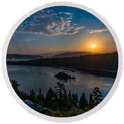 Full Moon Rising On Emerald Bay Round Beach Towel