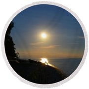 Full Moon Rising Out Of Lake Huron Round Beach Towel