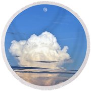 Round Beach Towel featuring the photograph Full Moon Rising Over Blue Ridge by Gary Smith