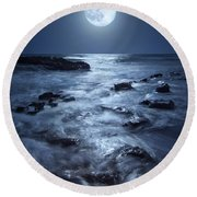 Full Moon Rising Over Coral Cove Beach In Jupiter, Florida Round Beach Towel