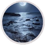 Round Beach Towel featuring the photograph Full Moon Rising Over Coral Cove Beach In Jupiter, Florida by Justin Kelefas