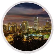Full Moon Rising Over Downtown Portland Round Beach Towel