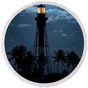 Full Moon Rising Over Hillsboro Lighthouse In Pompano Beach Florida Round Beach Towel