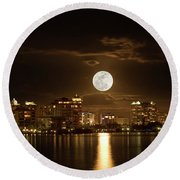 Full Moon Rising Over Sarasota Round Beach Towel