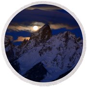 Full Moon Sets Over The Grand Teton Round Beach Towel