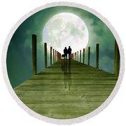 Full Moon Silhouette Round Beach Towel